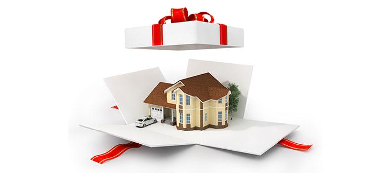 Home inside gift box